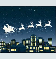 santa claus on sledge flies over a city at night vector image vector image