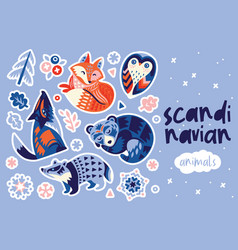 Scandinavian winter animals sticker set vector