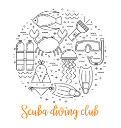 Scuba diving line art background vector