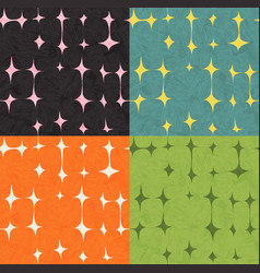 Seamless abstract mid century modern pattern set vector