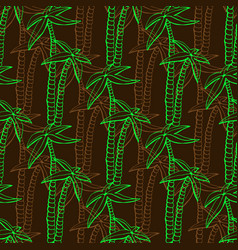 seamless exotic pattern with palms on dark vector image