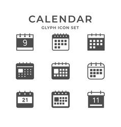 Set glyph icons calendar vector