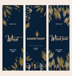 set of bakery backgrounds with wheats linear vector image