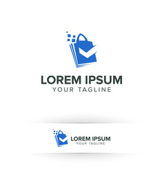 shoping bag logo online with check mark logo vector image