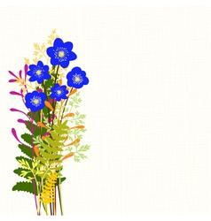 Springtime Blue Hepatica Nobilis and Wild Grass vector