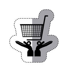 Sticker silhouette of hands holding a shopping vector