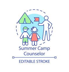 Summer camp counselor concept icon seasonal job vector
