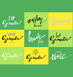 summer lettering set of cards hand drawn labels vector image