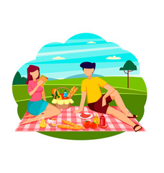 summer picnic concept romantic couple vector image