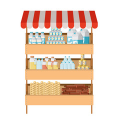 Supermarket shelf with sunshade colorful with vector