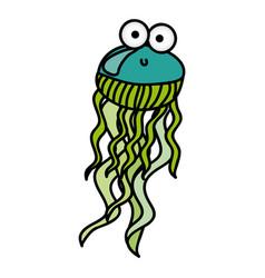 surprised jellyfish cartoon icon vector image