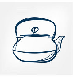 teapot one line design element isolated vector image