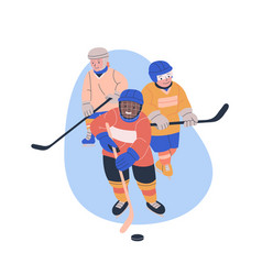 Three boys playing ice hockey game vector