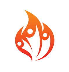 three people fire life icon on white vector image