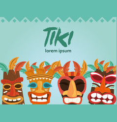 tiki wooden totem symbol god from ancient culture vector image