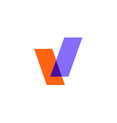 v letter mark overlapping color logo icon vector image
