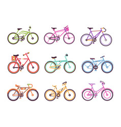 Various types of bikes for male female and kids vector