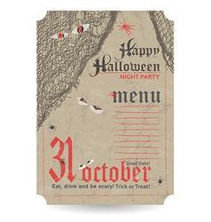 Vintage menu to Halloween party vector
