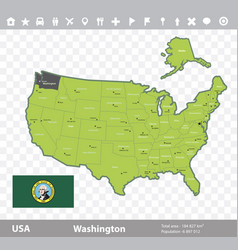 washington flag and map vector image