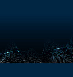 wave particles futuristic blue dots background vector image