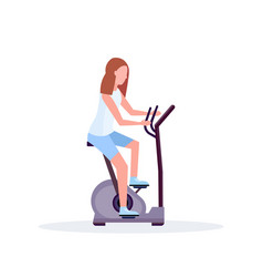 Woman training exercise bike sportswoman riding vector