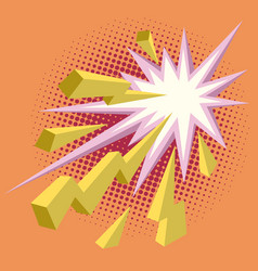yellow lightning comic background vector image