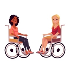 Young black and caucasian women in wheelchairs vector