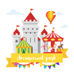 amusement park or funfair design vector image vector image