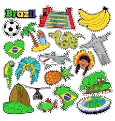 Brazil travel scrapbook stickers patches badges vector