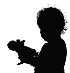 child with doll silhouette vector image vector image