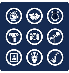 culture and art icons vector image vector image