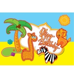 Happy Birthday card with cartoon animals and vector image