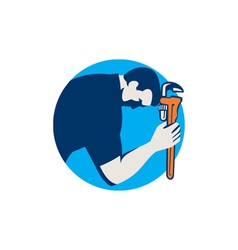 Plumber Bowing Holding Monkey Wrench Circle Retro vector image