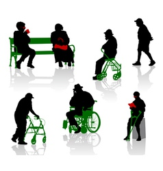 elderly and disabled people vector image vector image