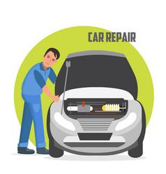 flat horizontal banner for car repair services vector image