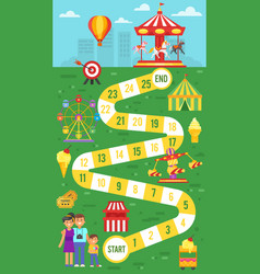 amusement park board game template for print vector image vector image