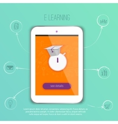 E-learning concept application with tablet vector image