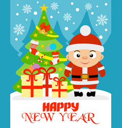 happy new year with boy vector image vector image