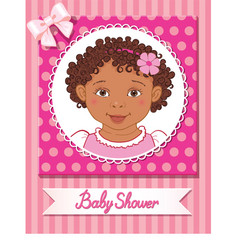 postcard of baby shower with cute girl on pink vector image