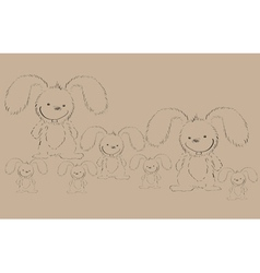 rabbits on old paper vector image vector image