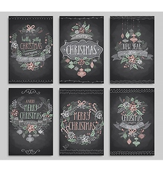 Set of Christmas cards - Chalkboard vector image vector image