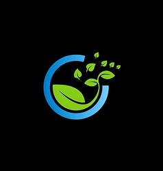 bio green leaf botany logo vector image vector image