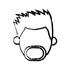 faceless head man mustache beard people sketch vector image