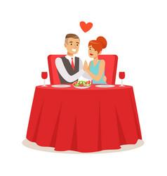 happy elegant couple enjoying romantic dinner date vector image