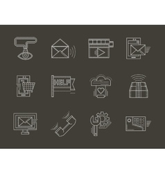Internet services white line icons set vector image vector image