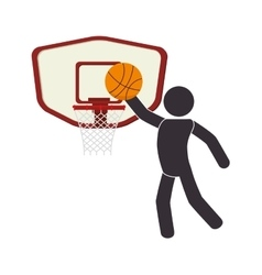 silhouette human playing basketball vector image
