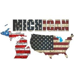 USA state of Michigan on a brick wall vector image vector image