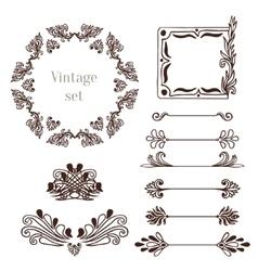 Vintage frames and border elements vector image