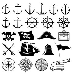 vintage nautical marine navy pirate vector image vector image