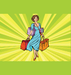 woman with empty shopping bags vector image vector image
